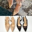 尖頭鞋.韓風性感迷人透膚網紗鉚釘後空高跟鞋.白鳥麗子
