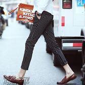 雙十二狂歡購9分韓版潮流夏季薄款條紋九分褲男士休閒褲修身小腳發型師男褲子