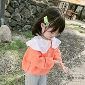 童裝女童毛衣寶寶針織衫兒童娃娃領上衣韓版【時尚大衣櫥】