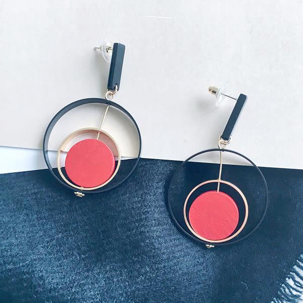 耳環 韓國百搭多層圓環氣質木質流蘇垂墜式長款耳環【1DDE0629】