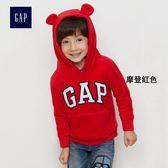 Gap男嬰幼童 Logo刷毛連帽長袖休閒上衣 338303-摩登紅色