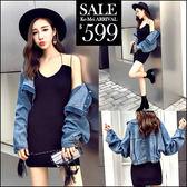 克妹Ke-Mei【ZT47216】歐洲站立領背後釘釦牛仔外套+吊帶針織背心洋裝