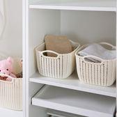 仿藤編桌面收納籃塑料編織收納筐廚房零食收納盒浴室洗澡籃置物籃 卡布奇诺HM