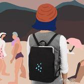 帆布後背包金刺繡後背包帆布后背包時尚休閒女包 時光之旅