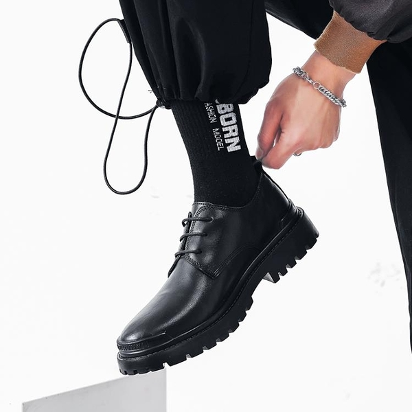 馬丁靴男款 ins馬丁靴男低幫 新款英倫風工裝真皮厚底大頭黑色小皮鞋男潮