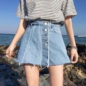 cec褲子女春季高腰網紅牛仔褲怪味少女褲假兩件裙褲顯瘦百搭短褲