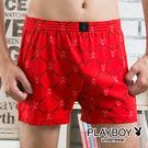 PLAYBOY內褲 兔頭LOGO  男內褲  平口褲 針織四角褲-單件-SW9043-630D紅黑字兔