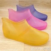 春夏韓國時尚低筒雨鞋女成人防滑短筒雨靴淺口套鞋透明水鞋女膠鞋     MOON衣櫥