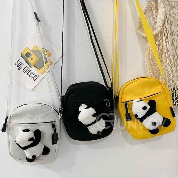 迷你可愛 簡約 童趣 帆布 熊貓 兒童 小背包 肩背包 側背小包 相機包 胸包 寶寶零錢包