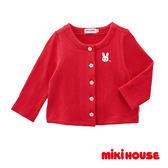 MIKI HOUSE 日本製 舞颯兔純棉針織外套(紅)