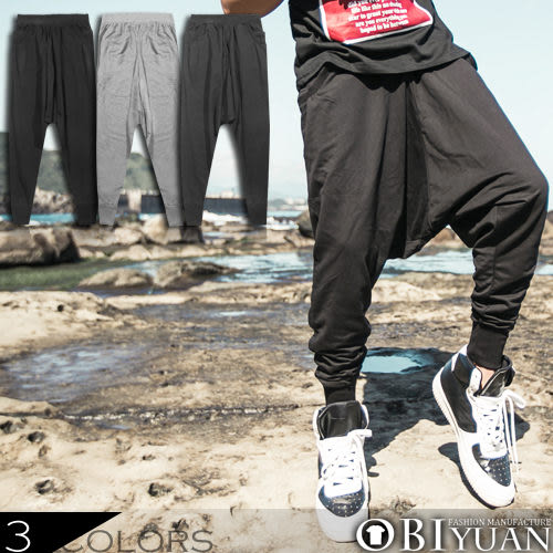 jogger飛鼠褲【FM1006】OBI YUAN韓版厚磅棉質螺紋素面休閒褲共3色