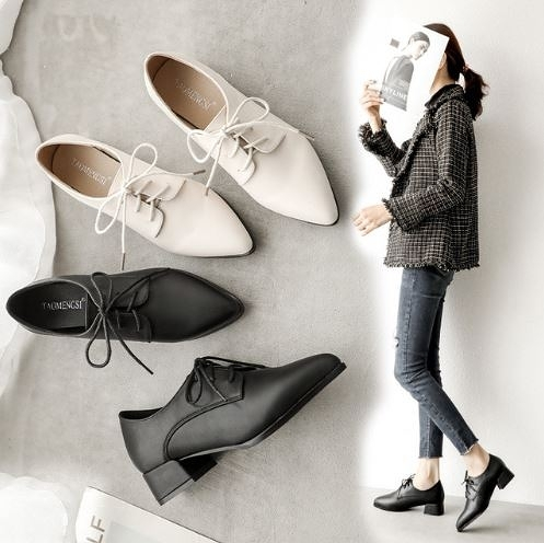 大尺碼女鞋34~42 2020年韓版百搭優雅蝴蝶結綁帶尖頭皮鞋淺口OL時裝鞋 2色R0806002