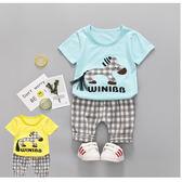 套裝 韓 棉T 透氣 彩虹小馬 立體流蘇尾巴 短袖上衣+短褲 二色 寶貝童衣