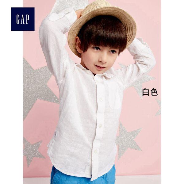 Gap男嬰幼童 舒適亞麻混紡卷長袖襯衫 249829-米白色