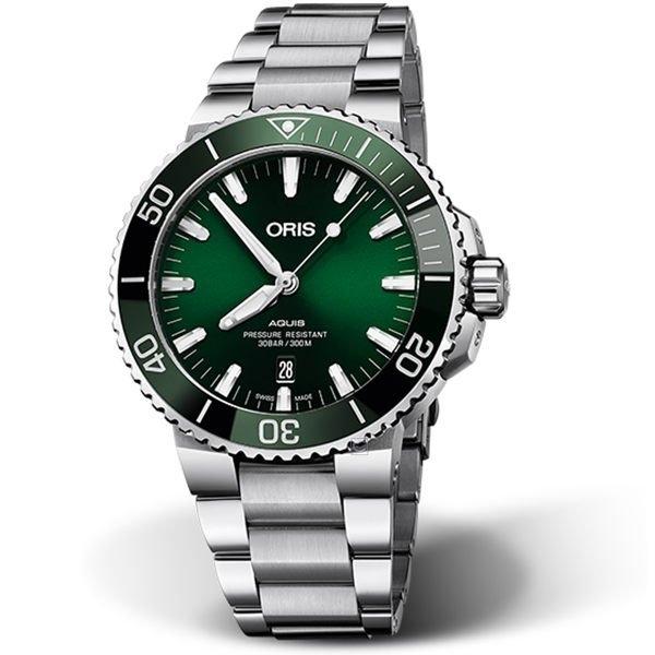 ORIS 豪利時綠水鬼AQUIS 潛水機械錶 0173377304157-0782405PEB 綠43.5mm