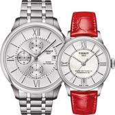 TISSOT 天梭 杜魯爾系列機械動力80對錶/情侶手錶-42+32mm T0994271103800+T0992071611800