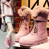 雪靴 兔毛雪靴厚底加絨中筒靴防滑馬丁靴冬季加厚平底短靴棉鞋 巴黎春天