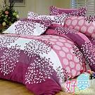 雙人加大床罩 / 兩用被四件組 (紫竹葉) 含兩件鋪棉枕套 活性絲柔棉 好夢寢具台灣製