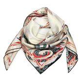 HERMES 水世界圖騰真絲方型披肩圍巾(米黃色)179136