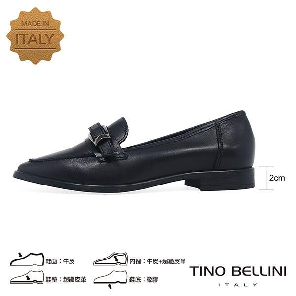 Tino Bellini 義大利進口皮帶飾釦尖楦微跟樂福鞋 _ 黑 VI8501 歐洲進口款