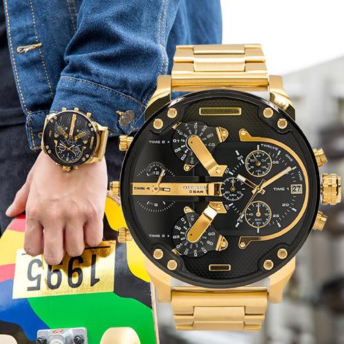 DIESEL Mr Daddy 2.0 閃動黑金潮流金屬腕錶 DZ7333 熱賣中!