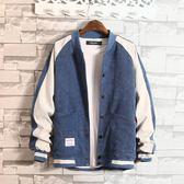 男士冬季新款韓版外套牛仔夾克冬秋學生百搭潮流棒球衣服冬裝   芊惠衣屋
