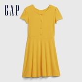 Gap女童簡約風格圓領短袖洋裝578109-黃色條紋
