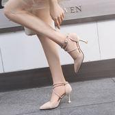 小清新高跟鞋少女細跟仙女公主貓跟鞋百搭綁帶2018新款尖頭單鞋女