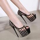 高跟鞋 16CM超高跟細跟高跟鞋魚嘴單鞋韓國公主夜店性感恨天高蕾絲女婚鞋 降價兩天