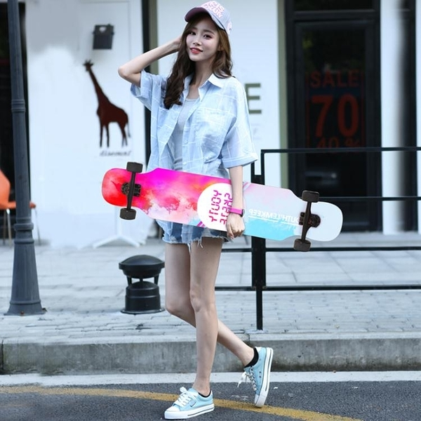 滑板長板女生初學者舞板青少年四輪車成人男孩公路刷街4輪【快速出貨】