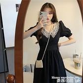 蕾絲洋裝 大碼女裝夏季蕾絲娃娃領小黑裙長裙女胖妹妹泡泡袖抽繩收腰連身裙【618 購物】