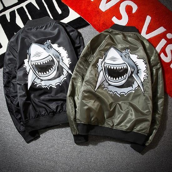 空軍夾克 MA1-立領個性鯊魚印花飛行員男軍裝外套2色73pf12[巴黎精品]