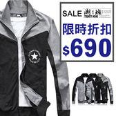 『潮段班』【ML030025】 秋冬新款 棉質雙色拼接星星印刷高領拉鍊外套