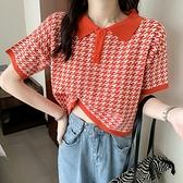 針織上衣網紅夏季韓版短袖t恤女polo小衫洋氣百搭網紅短款上衣潮1F143快時尚