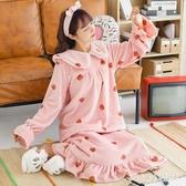 新款大碼可愛甜美珊瑚絨加厚睡袍女加長款洋裝法蘭絨睡裙浴衣 OO100【VIKI菈菈】