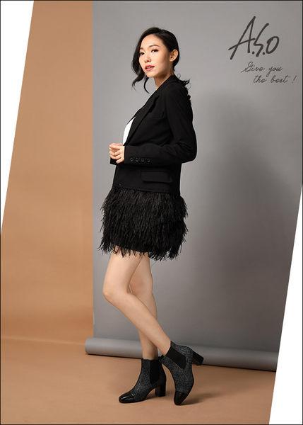 A.S.O 心機美靴 真皮拼接鬆緊帶直套式短靴 黑