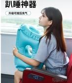 充氣枕頭按壓式辦公室午睡神器長途坐火車飛機趴睡枕 街頭布衣