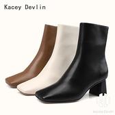 全真皮方頭粗跟中筒短靴 時尚舒適女靴子【Kacey Devlin 】