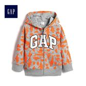 Gap男嬰幼童 Logo鯊魚印花連帽拉鏈長袖休閒外套 419550-亮麻灰色