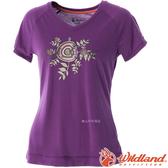 Wildland 荒野 0A51605-58葡萄紫 女 V領印花棉感抗UV上衣 抗紫外線/涼爽散熱/吸濕快乾/登山旅遊