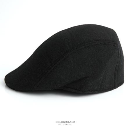 鴨舌帽 百搭素面毛呢扁帽 NH250