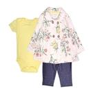 女寶寶套裝三件組 大衣薄外套+短袖包屁衣+長褲 白花花   Carter s卡特童裝 (嬰幼兒/兒童/小孩)
