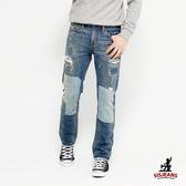 SISJEANS-仿舊磨破補丁直筒牛仔褲【16271002】