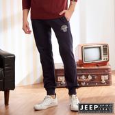 【JEEP】原色修身縮口休閒長褲 (深藍)