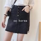 小開叉排釦牛仔短裙 CC KOREA ~ Q27700