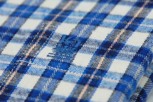 【金‧安德森】藍中格紋保暖窄版長袖襯衫