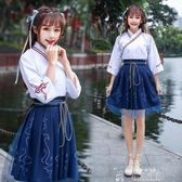 中國風改良傳統日常漢服套裝女春夏款古裝繡花交領齊腰民國學生裝 韓流時裳