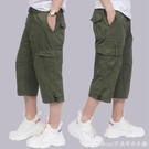 七分褲夏季薄款七分褲中老年運動休閒短褲子男寬鬆直筒中褲多口袋工裝 快速出貨