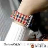適用蘋果手表錶帶apple watch表帶帆布皮iwatch1/2/3代【淘夢屋】