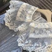蕾絲打底衫雙層大翻領清純鉤花拼接娃娃領甜美溫柔風蕾絲打底衫上衣秋冬內搭